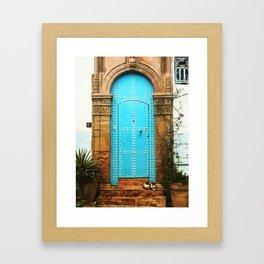 Delightful turquoise moroccan door Framed Art Print
