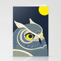 anaconda Stationery Cards featuring Night Owl by Polkip