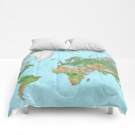Watercolor physical world map (high detail) Comforters