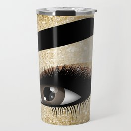 Gold Lashes Eye Travel Mug