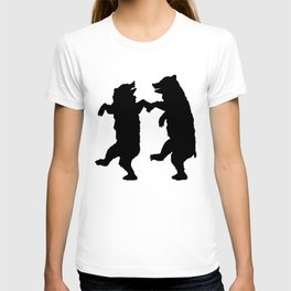 Two Dancing Bears Trees Owl Black Silhouette on White T-shirt
