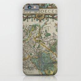 Vintage Map - Ortelius: Theatrum Orbis Terrarum (1606) - Liége, Belgium iPhone Case