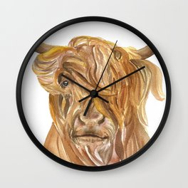 Highland Cow Watercolor Wall Clock
