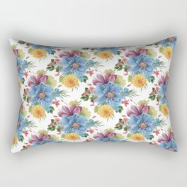 Colorful tropical flowers bouquet pattern Rectangular Pillow