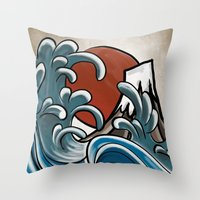 hokusai Throw Pillows featuring Hokusai comic by Nxolab