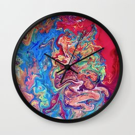 Go with the Flow, Abstract Fluid Acrylic Pour  Wall Clock