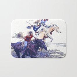 Horse Racing Cowgirls Bath Mat