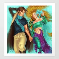 caleb troy Art Prints featuring Cornelia and Caleb by Miyukin