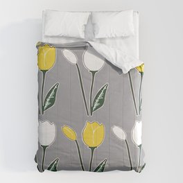 Tulips Pattern in Yellow, White, and Grey Comforters