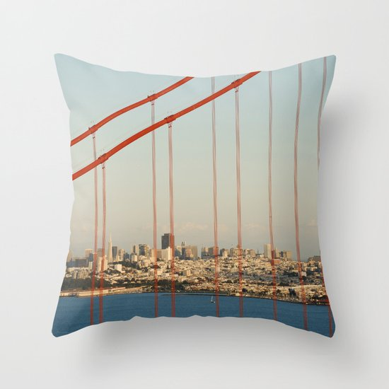Golden San Gate Francisco Bridge Throw Pillow