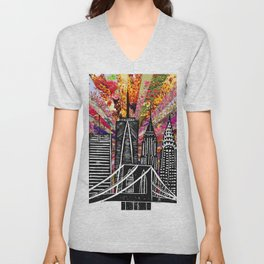 Linocut New York Blooming Unisex V-Neck