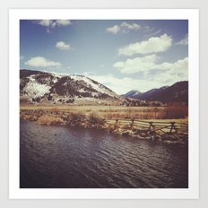 Looking Over the Creek at the Gros Ventre Mountain Range, Wyoming Art Print
