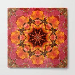 Glowing autumn Juneberry leaves kaleidoscope mandala Metal Print