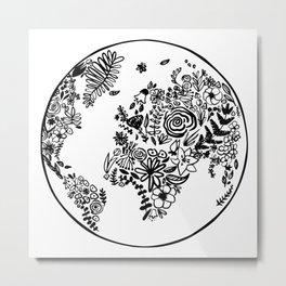 Floral planet Metal Print
