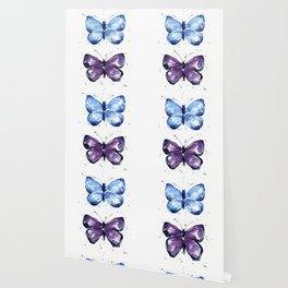 Butterflies Watercolor Blue and Purple Butterfly Wallpaper