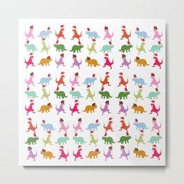 Colorful Dinosaurs Christmas Mood  Metal Print