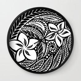 Circular Polynesian White Floral Tattoo Wall Clock
