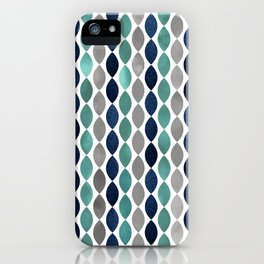 Oval Stripes Aqua and Navy iPhone Case