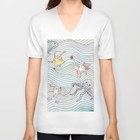 cook V-neck T-shirts featuring Cook Party by Jane Chu
