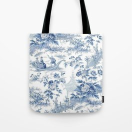 Powder Blue Chinoiserie Toile Tote Bag