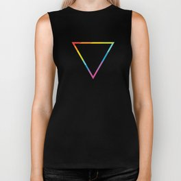 Pride: Rainbow Geometric Triangle Biker Tank