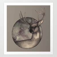antlers Art Prints featuring Antlers by Ericaphant