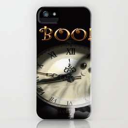 halloween ghost cute clock - fantome tout mignon - horloge iPhone Case
