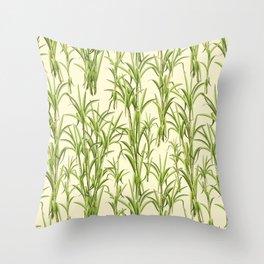 Sugar Cane Exotic Plant Pattern Throw Pillow