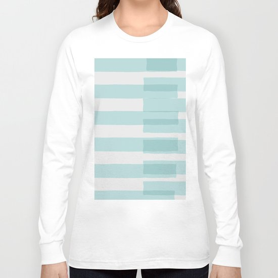 Big Stripes In Turquoise Long Sleeve T-shirt