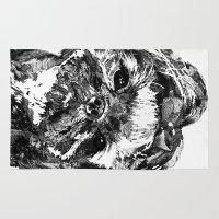 shih tzu Area & Throw Rugs featuring Shih Tzu Dog Art In Black And White by Sharon Cummings by Sharon Cummings