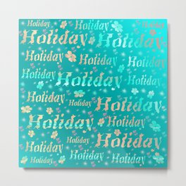 shiny font happy holidays in mint blue Metal Print