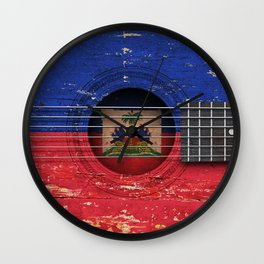 Old Vintage Acoustic Guitar with Haitian Flag Wall Clock
