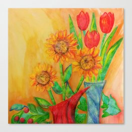 Little Sunflowers and Tulips Canvas Print