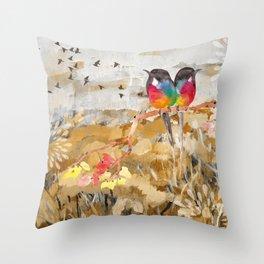 Painted Birds Throw Pillow