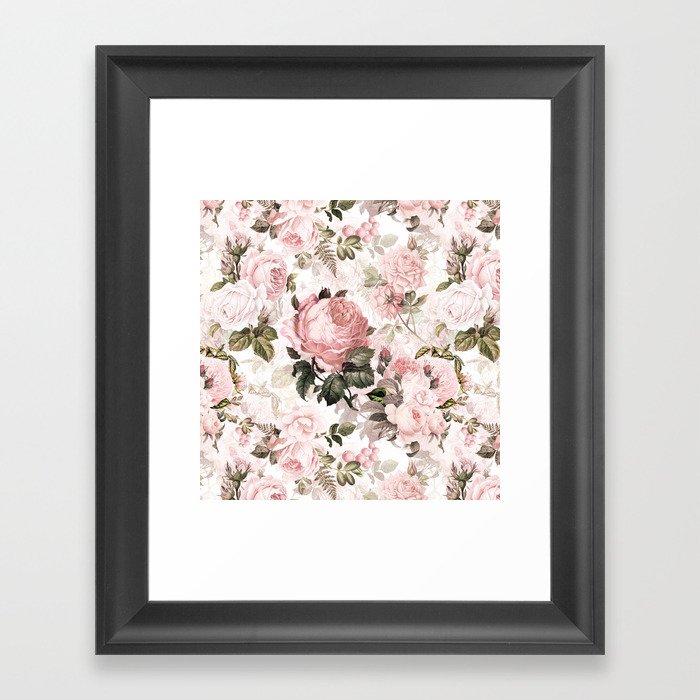 Vintage & Shabby Chic - Sepia Pink Roses  Gerahmter Kunstdruck