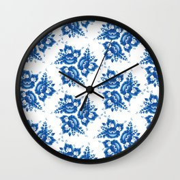 Vintage shabby Chic Seamless pattern with blue flowers and leaves. Vector Wall Clock