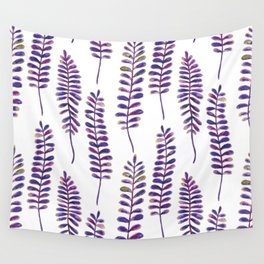Watercolour Fern Pattern | Purple and Gold Wall Tapestry