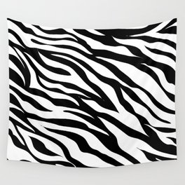 modern safari animal print black and white zebra stripes Wall Tapestry