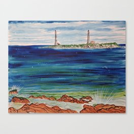 Thatcher island lighthouses on a peaceful day Canvas Print
