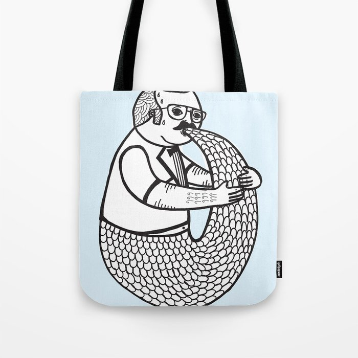 On the rare and condemned practice of trying to suckle on one's own tail Tote Bag