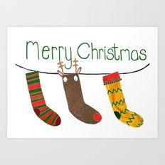 Merry Christmas socks Art Print