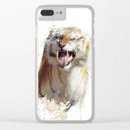 sabertooth tiger portrait watercolor Clear iPhone Case