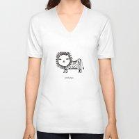 korean V-neck T-shirts featuring cute korean alphabet animals by lemonluna
