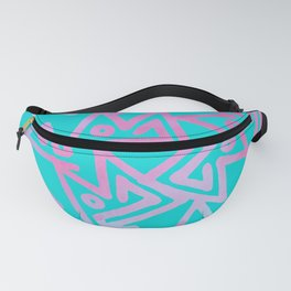 Geometrical abstract teal pink watercolor pattern Fanny Pack
