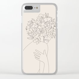 Woman with Flowers Minimal Line III Clear iPhone Case
