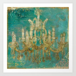 Gold and Peacock Chandelier Art Print