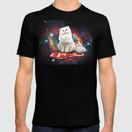 Space cat pizza T-shirt