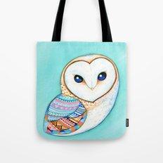 Tribal Pattern Barn Owl Tote Bag