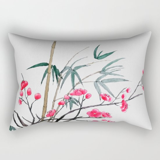 bamboo and red plum flowers Rectangular Pillow