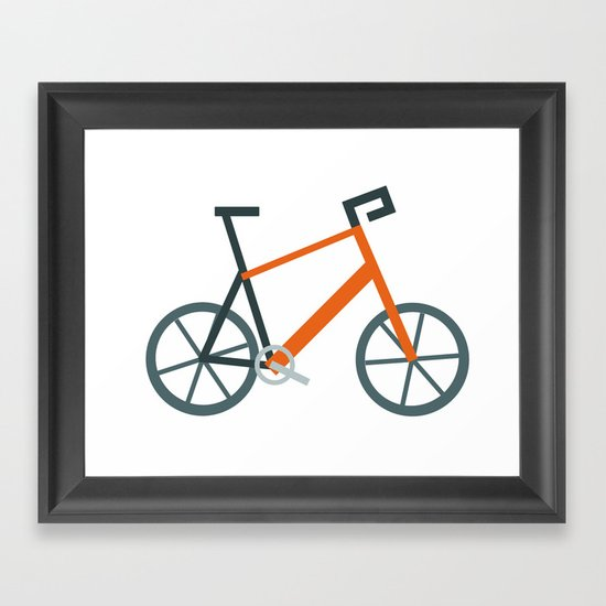 Orange Bike Framed Art Print
